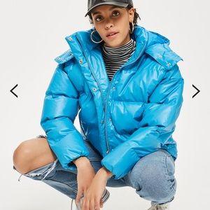 TopShop. Cobalt Blue Puffer Jacket.